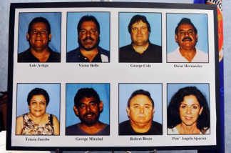 A display of pictures of current and former City of Bell council members who were arrested on corruption charges is seen following a news conference on September 21, 2010 in Los Angeles, California.