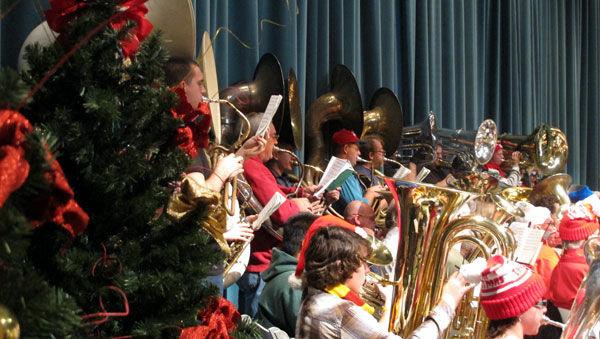 More than 100 tuba players showed up for Tuba Christmas Los Angeles, the oldest Tuba Christmas in California.