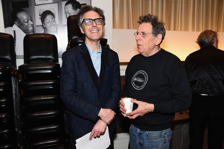 Ira Glass (L) and musician Philip Glass pose backstage Carnegie Hall the Tibet House Benefit Concert 2015 on March 5, 2015 in New York City.