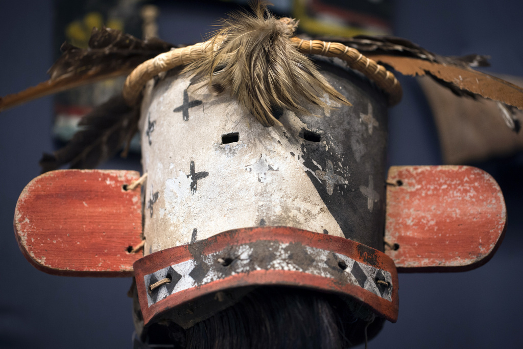 Photo shows a Katsina Eewiro mask (circa 1880-1900) from the Hopi tribe in Arizona during an auction of sacred objects from the Hopi and San Carlos Apache Native American tribes in Paris on December 9, 2013.