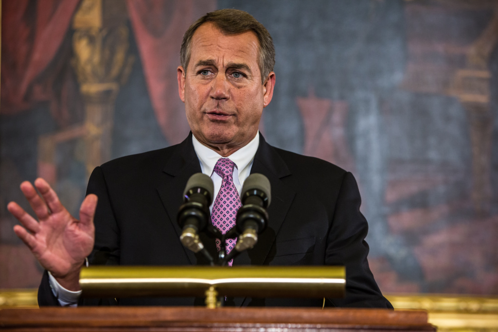 House Speaker John Boehner (R-OH) makes remarks on Capitol Hill on November 7, 2012 in Washington, DC. Boehner discussed the looming fiscal cliff and called on President Obama to work with House Republicans.