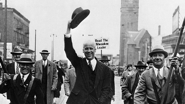 Socialist candidate for the presidency Norman Thomas parades down Wisconsin Avenue in Milwaukee in 1932, where he made a speech. Thomas ran six times for presidency.
