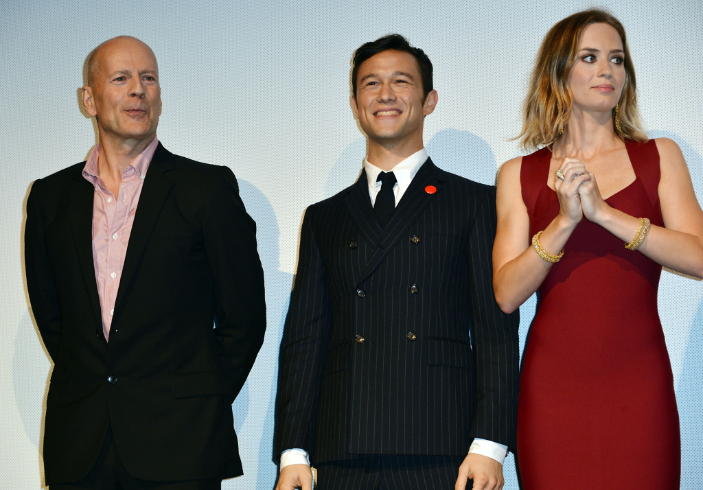 (L-R) Actor Bruce Willis, actor/Executive Producer Joseph Gordon-Levitt and actress Emily Blunt attend the