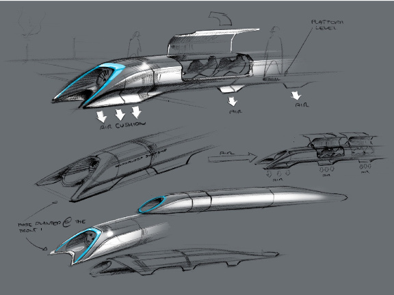 An image from the proposed Hyperloop California transit system.