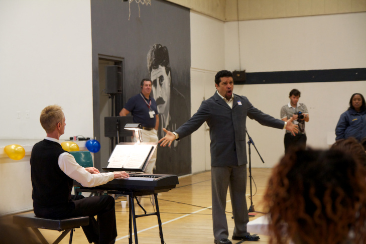 L.A. Opera baritone LeRoy Villanueva performs an original piece based on the writing of an incarcerated youth at Central Juvenile Hall.