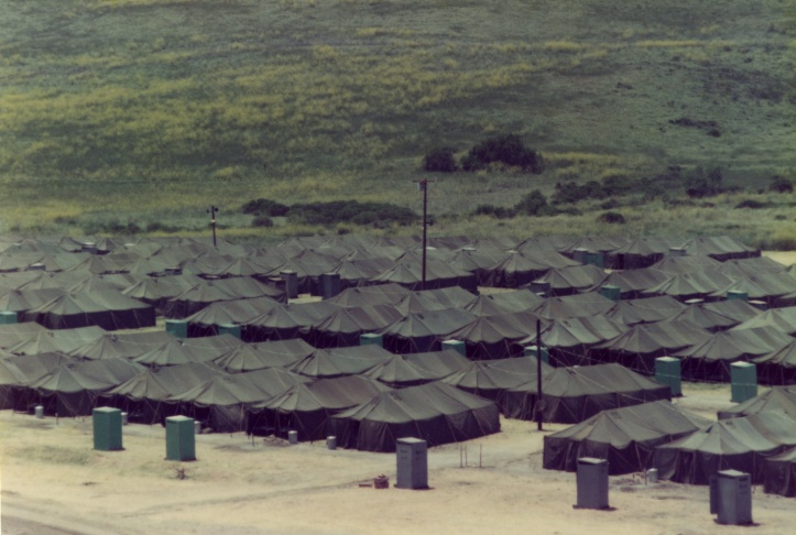 A group of children at the San Onofre refugee camp at Camp Pendleton, Spring 1975.