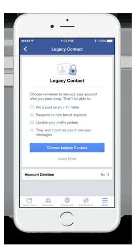 Facebook said it will now let users pick someone who can manage their account after they die. Previously, the accounts were