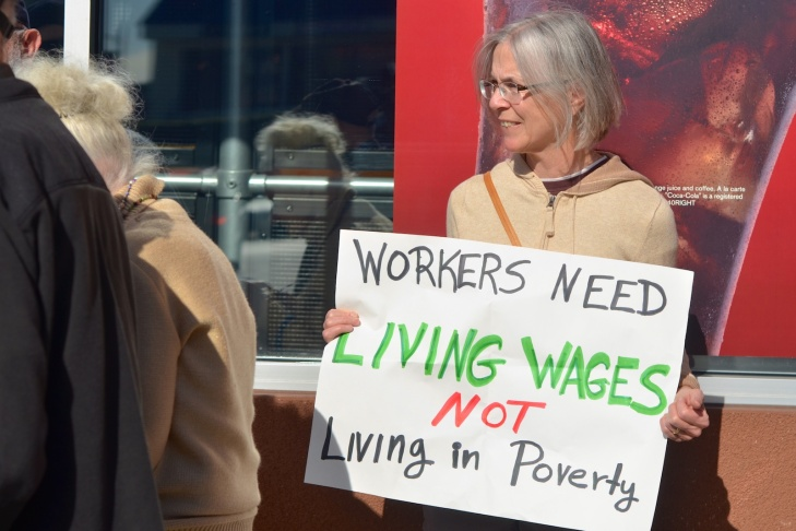 Alan Hershfield, Nancy Berlin and Bill Miller joined other protests the day before national protests demanding a living wage for fast food workers.