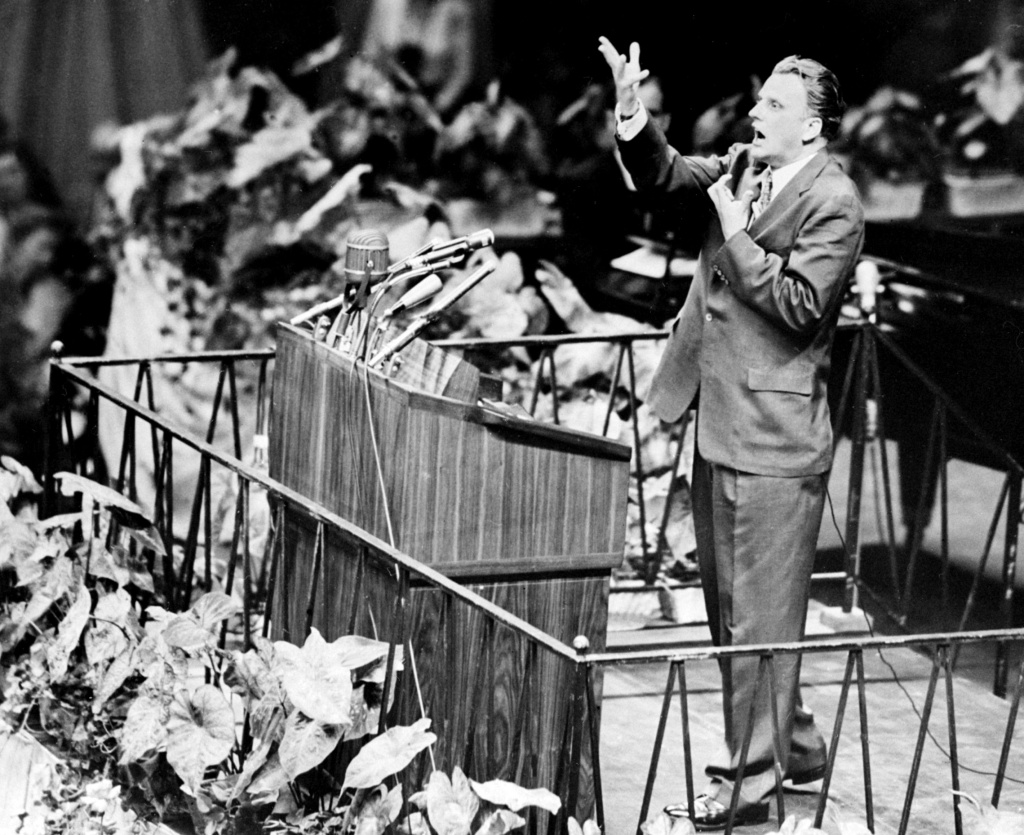 Billy Graham, the American evangelist, preaches 20 May 1957 in Madison Square Garden in New York.