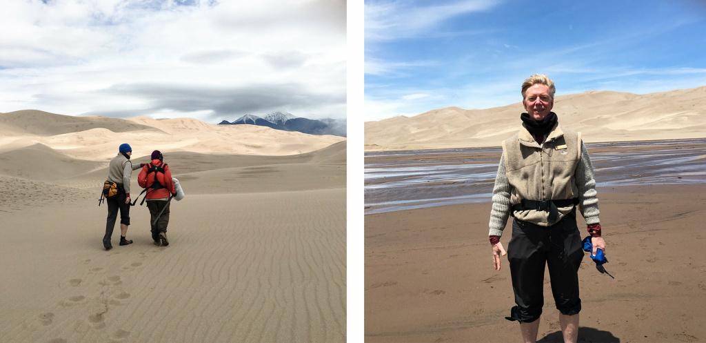 (Left) Kurt Fristrup and Bill Mcquay record the sounds of the Great Sand Dunes. (Right) Fristrup says wild sounds trigger