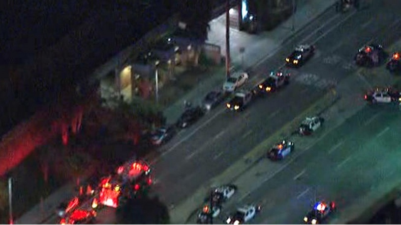 A screenshot of coverage on NBC-LA of a shooting on the evening of April 7, 2014, outside a West L.A. office of the Los Angeles Police Dept.