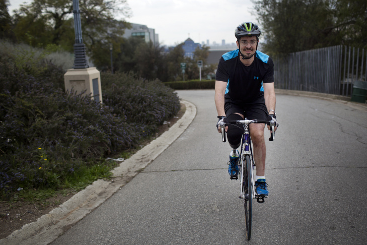One year ago on February 17, 2013, Damian Kevitt was struck by a car while biking in Griffith Park. After spending four months in the hospital and having his right leg amputated, Kevitt is bicycling again.