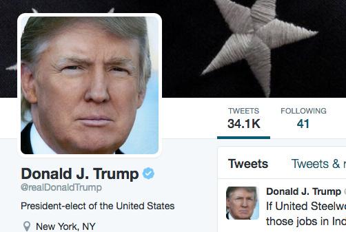 A screenshot of Donald Trump's Twitter page, taken December 9th, 2016.