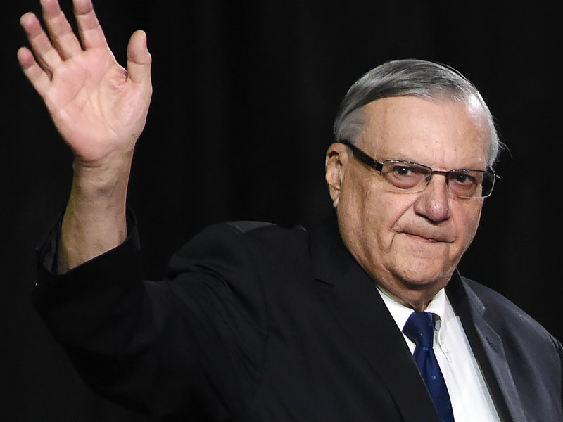Joe Arpaio at a rally for then-candidate Donald Trump last October in Prescott Valley, Arizona.