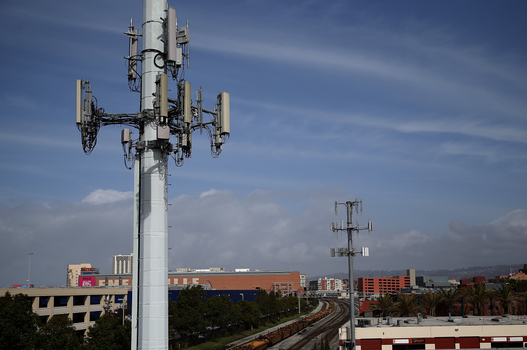A view of  cellular communication towers on March 6, 2014 in Emeryville, California.
