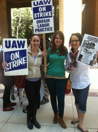 UCLA graduate students supporting a strike by the union that represents teaching assistants throughout the University of California.