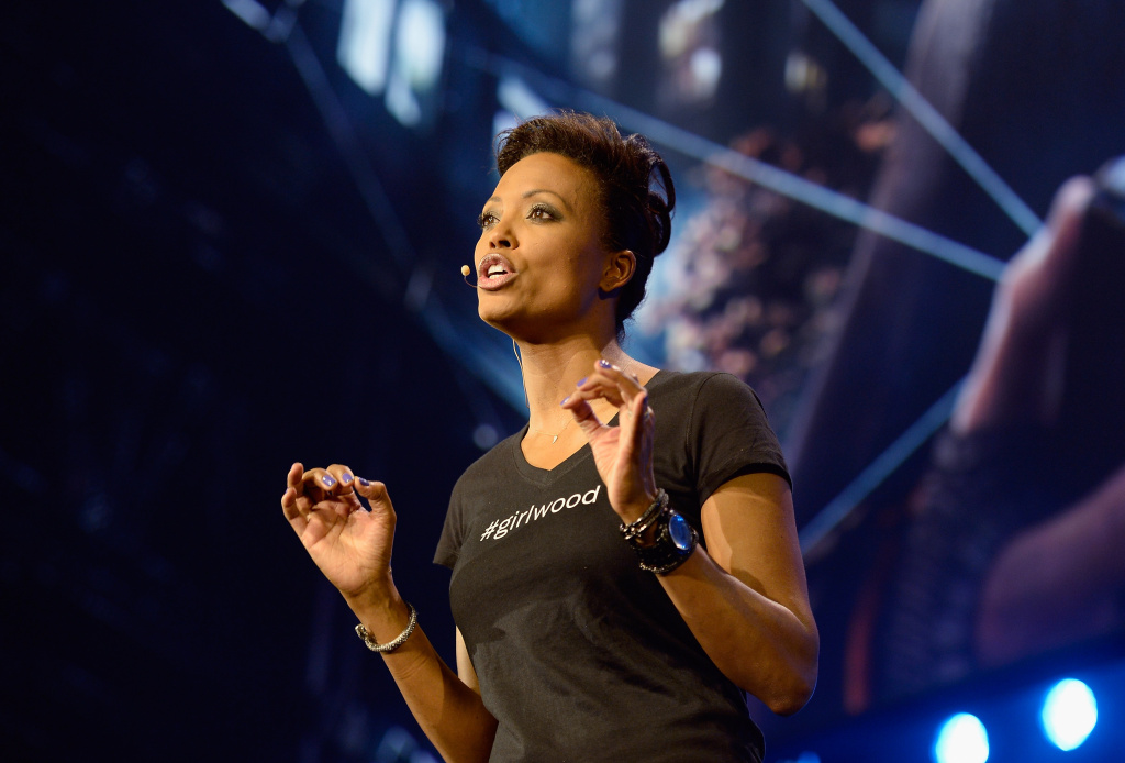 Actress Aisha Tyler, host of the Ubisoft news conference, speaks during the Electronic Entertainment Expo at the Los Angeles Theater on June 10, 2013 in Los Angeles, California. Thousands are expected to attend the annual three-day convention to see the latest games and announcements from the gaming industry.