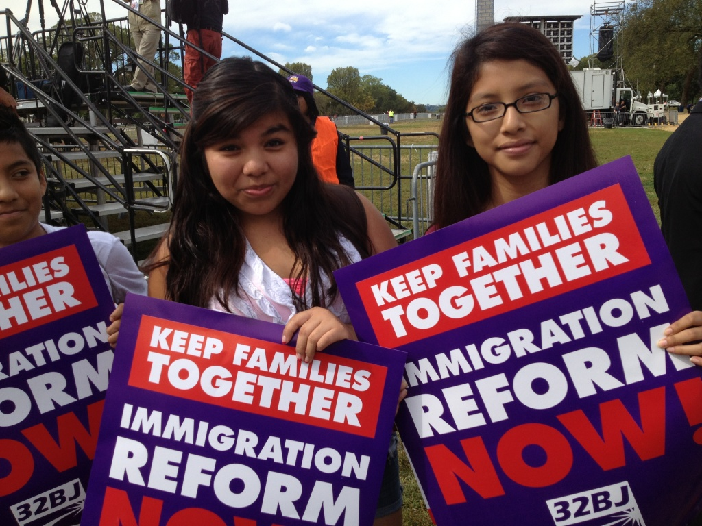 Martha Garcia and Rocio Verdugo cut school to attend an immigration rally on the National Mall in Washington, D.C., on Tuesday, Oct. 8, 2013.