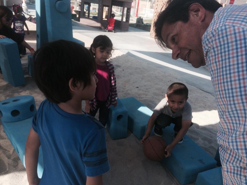 Long Beach City College President Eloy Oakley visits his campus Child Development Center preschool. He's a supporter of Mayor Robert Garcia's push to bring universal preschool to Long Beach.
