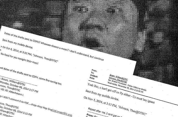 The emails between a senior toxicologist and a senior geologist surfaced as a result of a public records request. In the messages, the two men mocked co-workers from various ethnic groups.