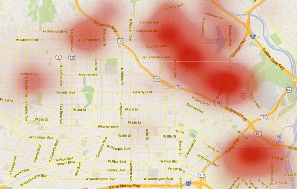 This above blotchy rash spreading across Los Angeles represents Yelp reviews that mention the word