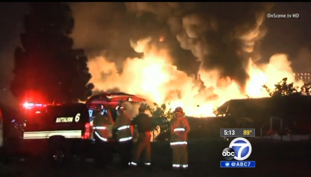 A screencap of KABC's video story about the fire at the San Pedro Elks Lodge.