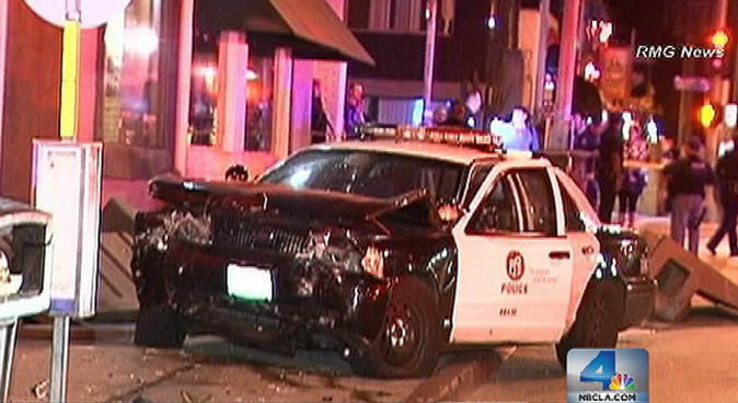 A hit-and-run driver caused this patrol car to crash in Marina Del Rey on Monday, May 28, 2012.