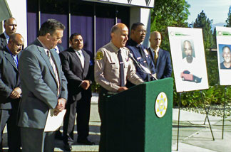 L.A. County Sheriff Baca and other officials at a news conference in Monterey Park. Authorities announced they charged murder suspect John Wesley Ewell with more killings.