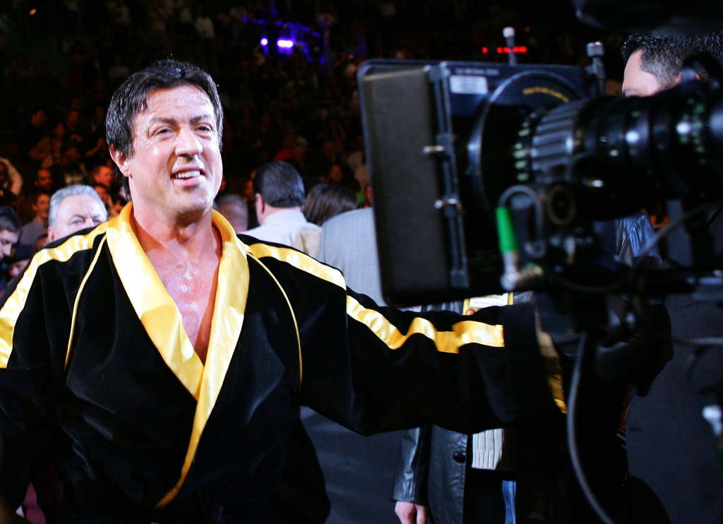 Sylvester Stallone walks into the ring as scenes from the film 'Rocky VI' are filmed before the start of the Bernard Hopkins and Jermain Taylor fight at the Mandalay Bay Events Center on Dec. 3, 2005 in Las Vegas, Nevada.