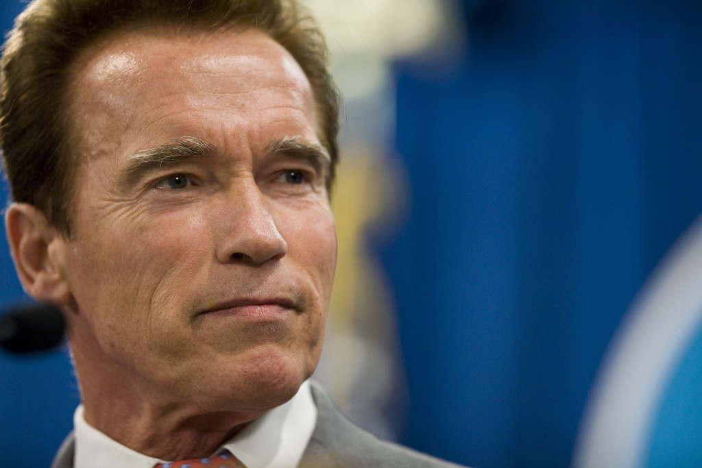 In this file photo, California Governor Arnold Schwarzenegger holds a press conference after the legislature successfully passed a solution to the state's budget problem July 24, 2009 in Sacramento, Calif.