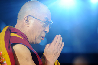 The Dalai Lama holds a forty-nine days memorial service for victims of the March 11 earthquake and tsunami at the Gokokuji temple in Tokyo on April 29, 2011.