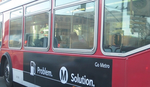 A Los Angeles Metro bus with Metro advertisement