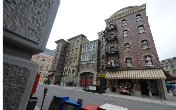 View of the Universal Studios newly rebuilt New York Street backlot locations, in Los Angeles on May 27, 2010.