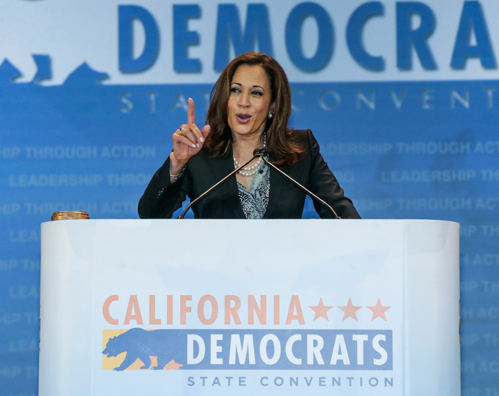 California Attorney General Kamala Harris speaks at the California Democrats State Convention in Anaheim on May 16, 2015.