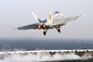 FILE: An F/A-18F Super Hornet launches from the flight deck of Nimitz-class aircraft carrier USS Dwight D. Eisenhower March 27, 2007 in the Persian Gulf.