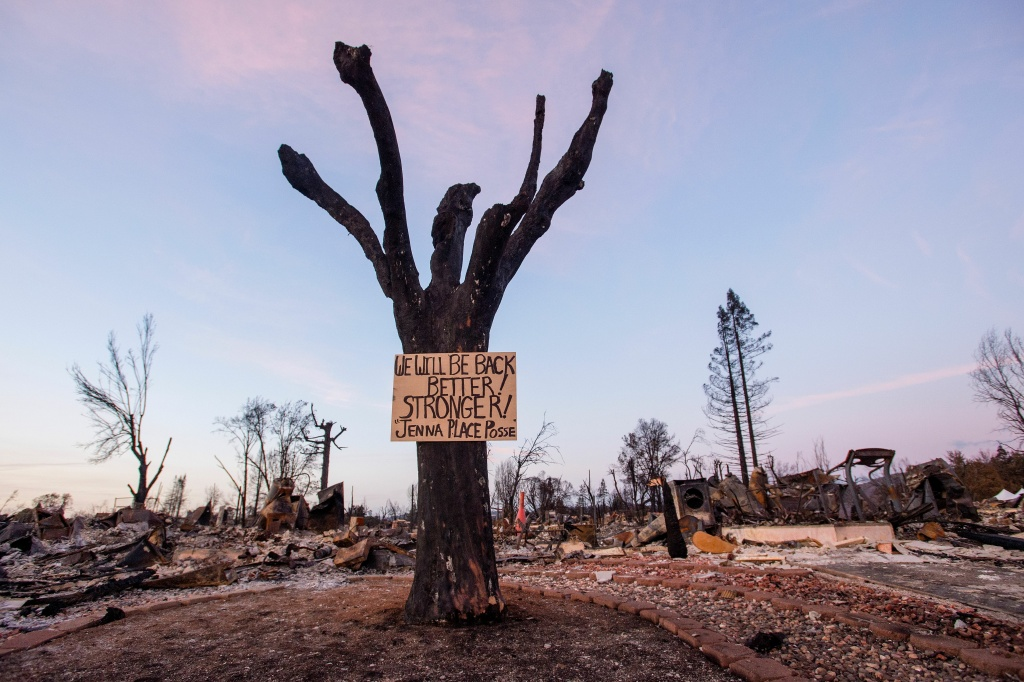 A sign of resilience is seen posted on a tree in a fire-destroyed neighborhood of Santa Rosa, California on October 20, 2017.  Residents are being allowed to return to their burned homes on October 20 to grieve and search through remains. Around 5,700 homes and businesses have been destroyed by the fires, the deadliest in California's history. / AFP PHOTO / JOSH EDELSON        (Photo credit should read JOSH EDELSON/AFP/Getty Images)