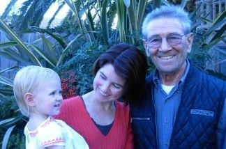 Camille Hahn, Leon Leyson, and grandchild, at Leyson's home in Fullerton.