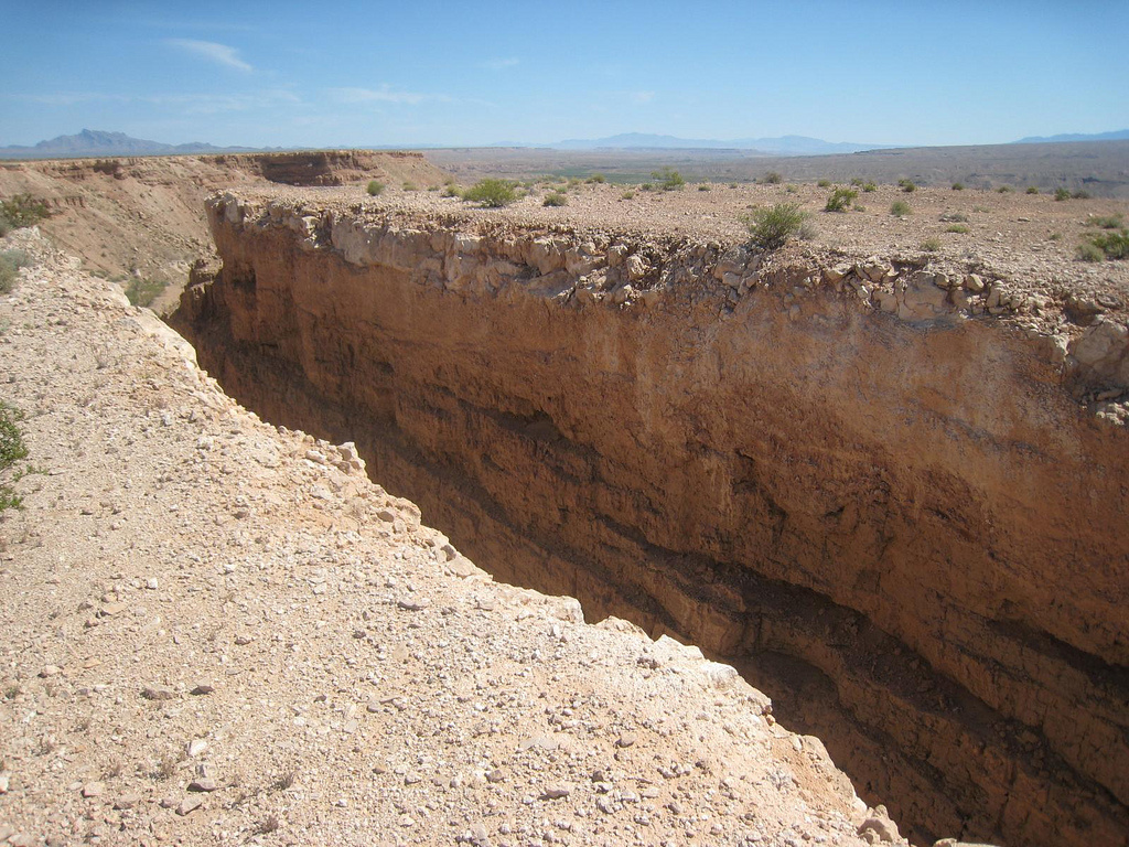 A photograph of Michael Heizer's famous example of land art,