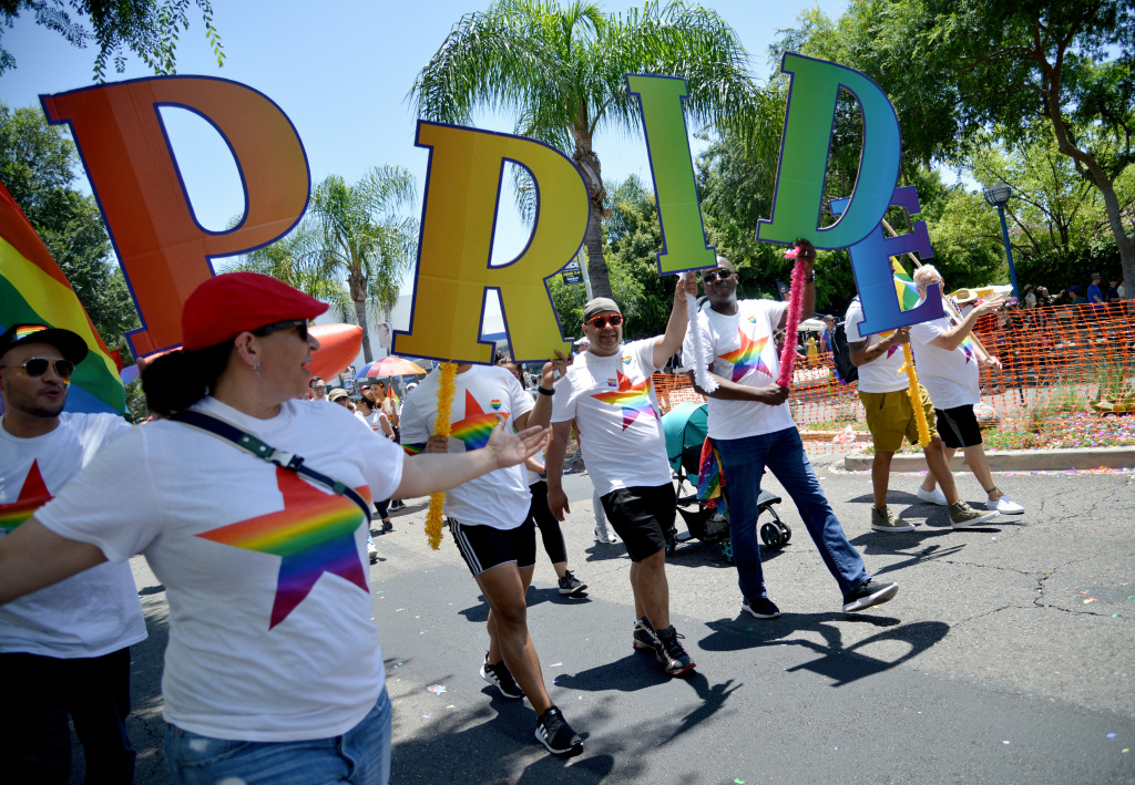 Participants seen at the LA Pride Parade on June 09, 2019 in West Hollywood, California.
