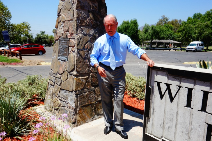 San Bernardino Mayor Pat Morris at the entryway to Wildwood Park that he maintains as a volunteer.