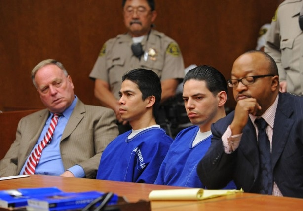 Eric Delacruz, left and Fernando Romero are sentenced in Torrance Superior Court for the murder of Sonia Risken (aka Black Widow) of Lomita. Defense attorneys Donald Levinson, far left, and Ludlow Creary III, far right.