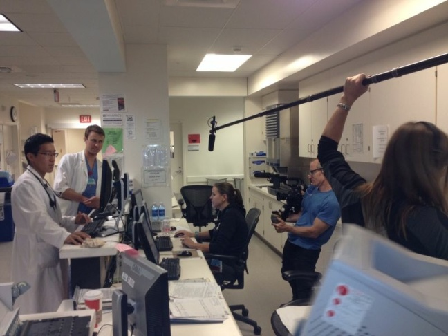 Director Ryan McGarry filming in the hospital.