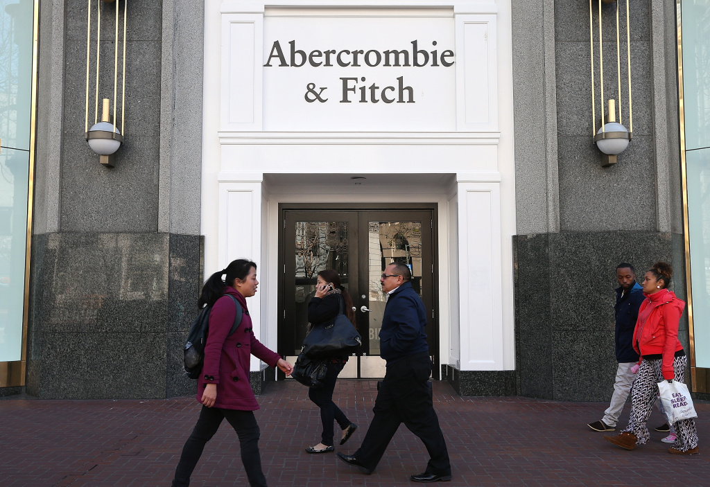 People walk by an Abercrombie and Fitch store on February 22, 2013 in San Francisco, California.