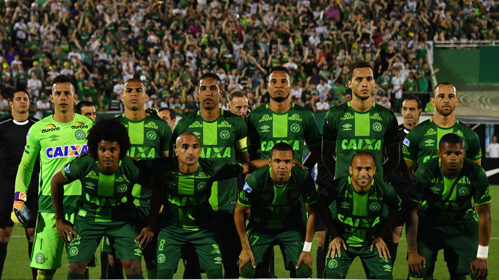 Brazil's Chapecoense players pose for pictures during their 2016 Copa Sudamericana semifinal against Argentina's San Lorenzo in Chapeco, Brazil, on Nov. 23. Most of the players on the team died in a plane crash in Colombia late Monday.