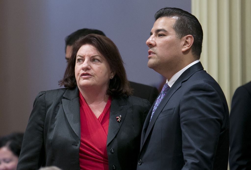 State Sen. Toni Atkins, D-San Diego, left, talks with Sen. Ricardo Lara, D-Bell Gardens, at the Senate on Wednesday, May 31, 2017, in Sacramento.