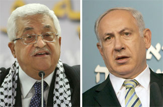 Palestinian leader Mahmoud Abbas (left) delivering a speech in the West Bank city of Bethlehem in August 2009; Israeli Prime Minister Benjamin Netanyahu speaking in Jerusalem in June 2010.