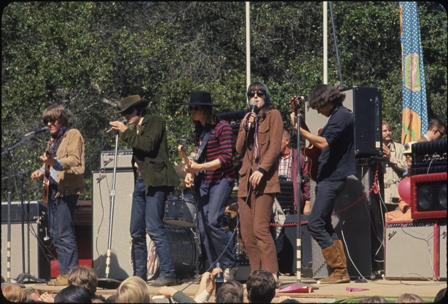 Jefferson Airplane performing in 1967 at the Fantasy Fair and Magic Mountain Music Festival on Mount Tamalpais in Marin County, California.