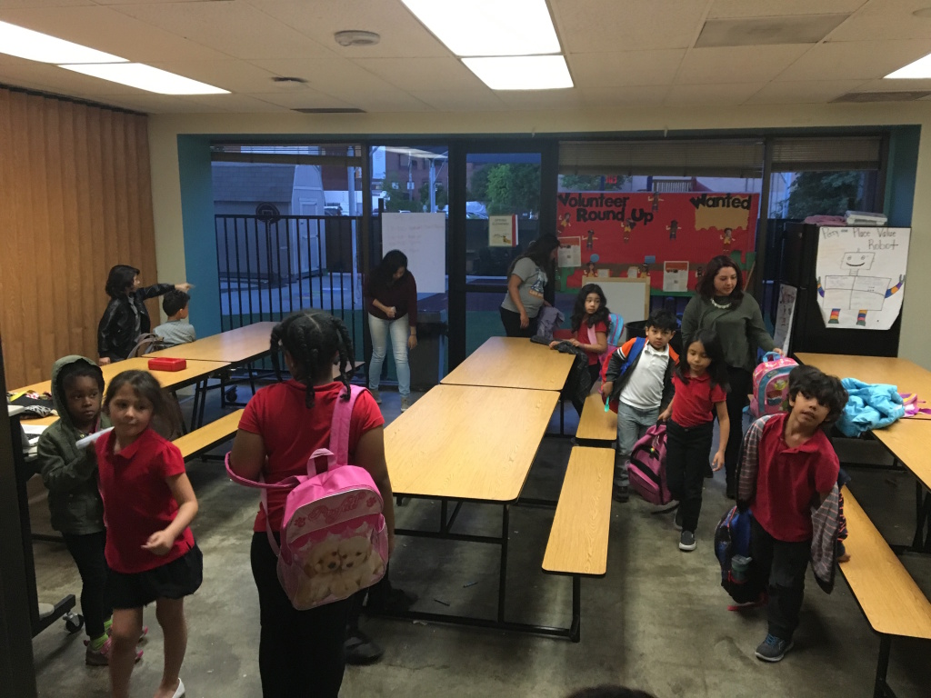 Metro Charter School's 200 students cram into a former daycare space on a hospital campus in downtown Los Angeles. Principal Kim Clerx says quarters are tight during lunch, which the school serves in this room.