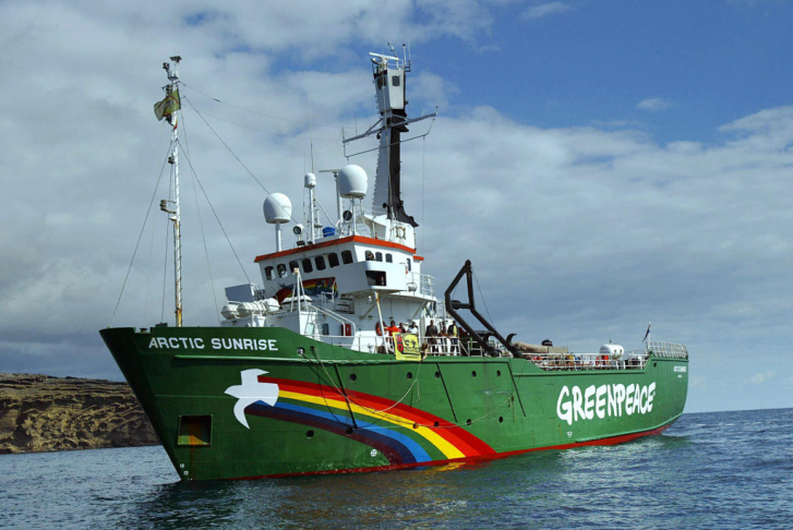 "Greenpeace's ship the ""Arctic Sunrise"" in 2005."