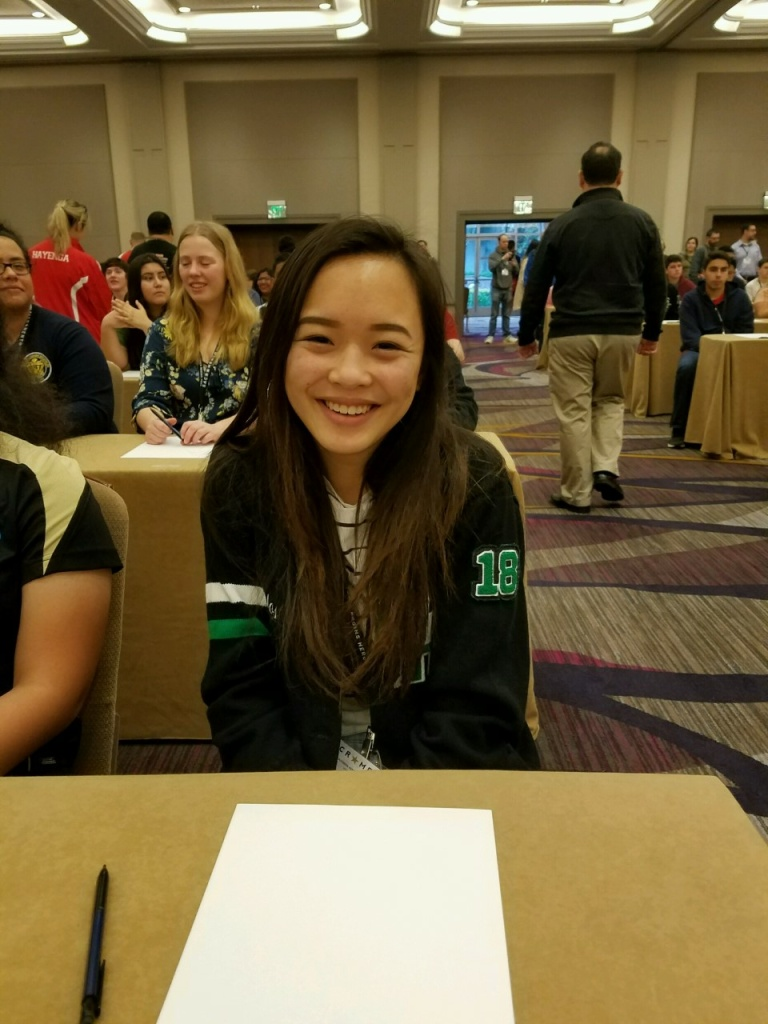 Sabrina Carlos, a junior at Granada Hills Charter High School, was the highest scoring decathlete in the Varsity division at the California Academic Decathlon.